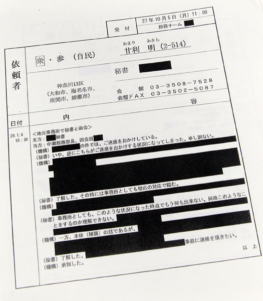 メモは黒塗りだらけ(C)日刊ゲンダイ