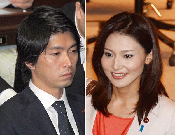 9日の国会での宮崎謙介議員と夫人の金子恵美議員(C)日刊ゲンダイ