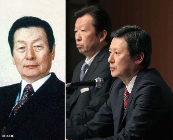 ロッテの重光武雄名誉会長(左)と長男・宏之氏(C)日刊ゲンダイ