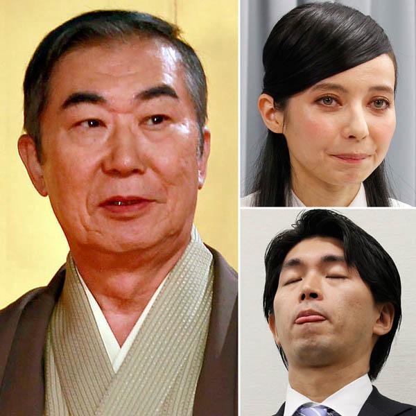 左から時計回りに桂文枝・ベッキー・宮崎謙介(C)日刊ゲンダイ