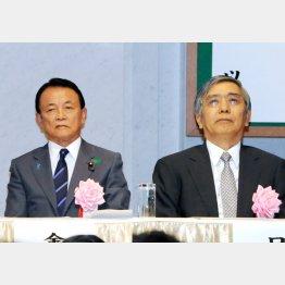 日銀の黒田総裁(右)と麻生財務相(C)日刊ゲンダイ