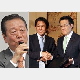 小沢一郎氏(左)は新党に合流するのか