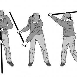 両手を極点に離してグリップするとスイング中の手と腕の使い方がわかる