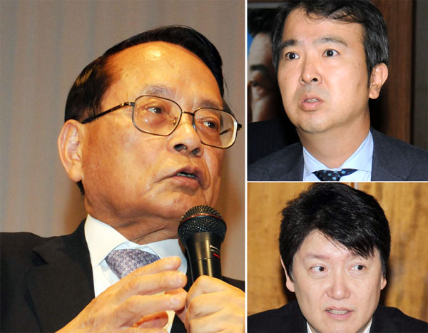 左から時計回りに、平沢勝栄、石原宏高、足立康史の3議員(C)日刊ゲンダイ