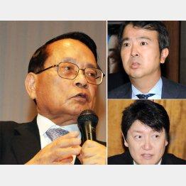 左から時計回りに、平沢勝栄、石原宏高、足立康史の3議員
