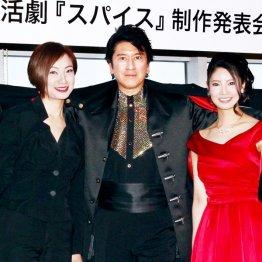 左からえまおゆう、川崎麻世、倉持明日香(C)日刊ゲンダイ