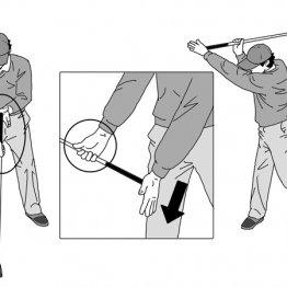 右手を支点にして左手を下げると手首のコックがスムーズに完了する