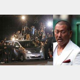 44日ぶりのシャバ(左・清原被告を乗せて警視庁を出る車)/(C)日刊ゲンダイ