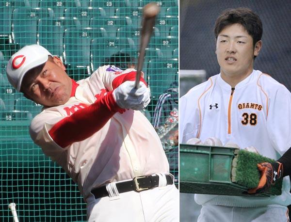 ノックをする小坂監督(左)と岡本/(C)日刊ゲンダイ