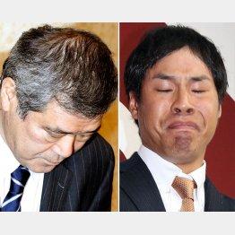 高木京介(右)契約解除会見で頭を下げる久保巨人球団社長(C)日刊ゲンダイ