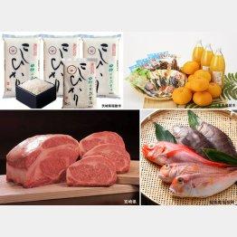 肉、魚介類、くだものなどおいしいものがいっぱい(各公式HPから)