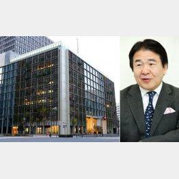 パソナグループ本社と竹中会長(C)日刊ゲンダイ