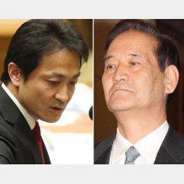 質問する民進党の玉木議員(左)と西川TPP特別委員長