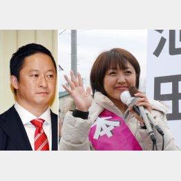 野党統一候補の池田真紀候補(右)と町村氏後継の和田義明候補