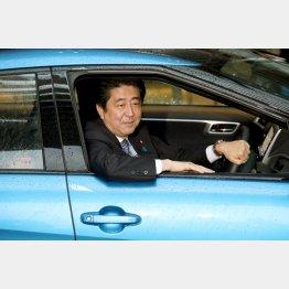 15年、トヨタ自動車新型FCV『MIRAI』の政府納車式で試乗する安倍首相(C)日刊ゲンダイ