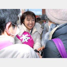 支持者と握手をする池田真紀候補
