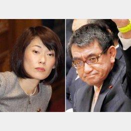 デタラメを流布して平然の丸川大臣(左)と大臣になった途端に反原発を封印した河野大臣