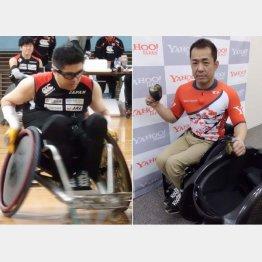 """特殊な車いすを操る岸さん(左)と""""グローブ""""を手にする洞ノ上さん(右)(C)日刊ゲンダイ"""
