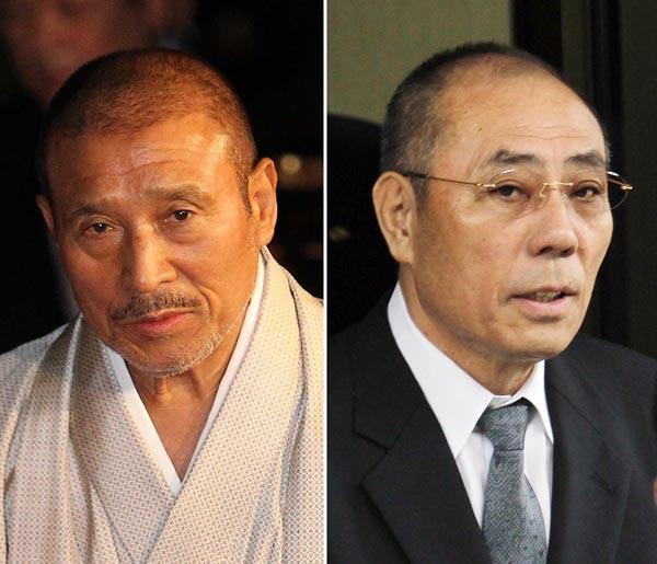 6代目山口組の司忍組長(左)と神戸山口組の井上邦雄組長(C)日刊ゲンダイ