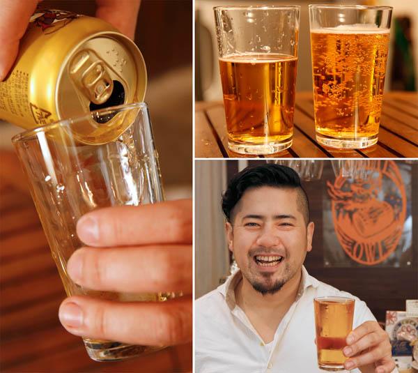 「グラスに這うように注ぐ」「乾いたグラス(右)は気泡が大量に」と福島さん(C)日刊ゲンダイ