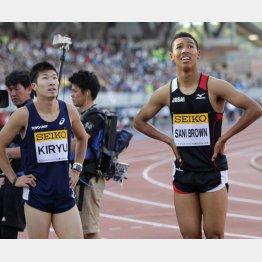 100mで4位に終わった桐生と5位のサニブラウン(右)/(C)日刊ゲンダイ
