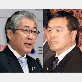居直る2人(左からJOC竹田会長、馳文科相)