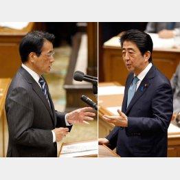 岡田代表(左)と安倍首相/(C)日刊ゲンダイ