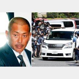 31日、地裁を後にする清原被告を乗せたワゴン車(右)/(C)日刊ゲンダイ
