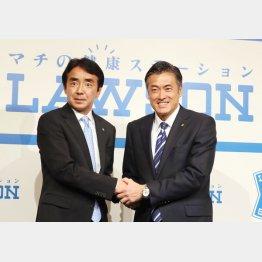 竹増社長(左)と玉塚会長(C)日刊ゲンダイ