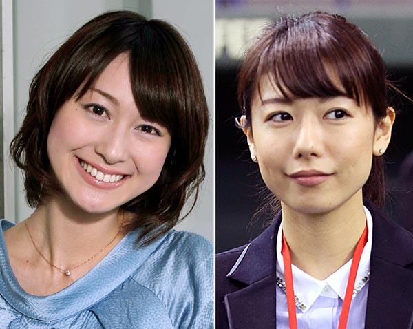 小川彩佳(左)と青山愛/(C)日刊ゲンダイ