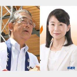 金子原二郎(左)と西岡秀子(公式HP)/(C)日刊ゲンダイ