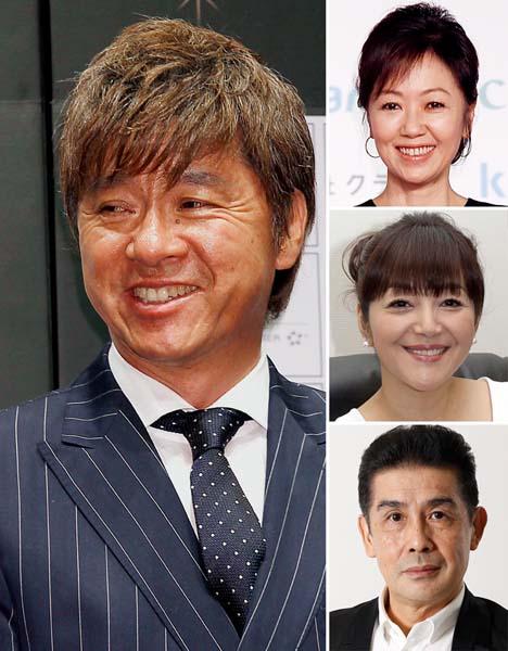 (左から時計回りに)西城秀樹、浅田美代子、岩崎宏美、角川博/(C)日刊ゲンダイ