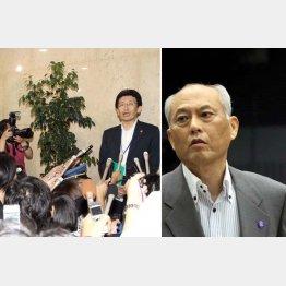 舛添都知事(右)の辞表が届けられた経緯を説明する議事部長の新見氏/(C)日刊ゲンダイ