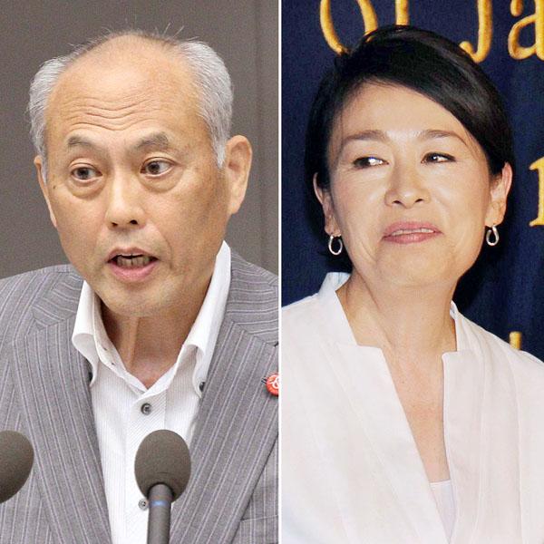 舛添都知事(左)と安藤優子/(C)日刊ゲンダイ