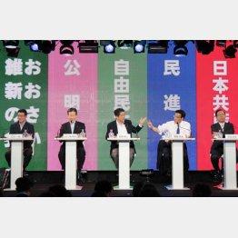 安倍首相の思うツボ(写真は9党党首ネット討論会)/(C)日刊ゲンダイ