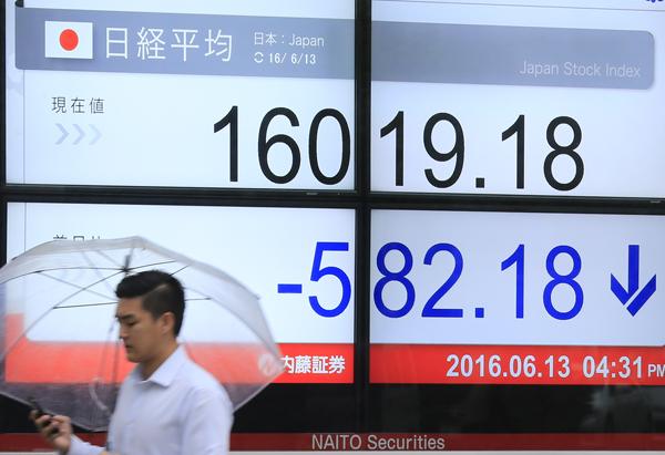 日経平均株価も下落(C)日刊ゲンダイ