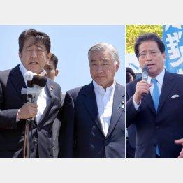 必死の岩城光英(左写真・右)と一歩リードの増子輝彦/(C)日刊ゲンダイ