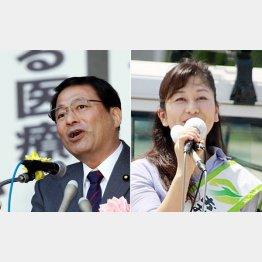 郡司彰(左)とオジサマの視線をクギづけにしている武藤優子/(C)日刊ゲンダイ