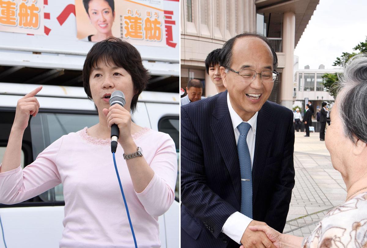 現職の舟山康江(左)と月野薫/(C)日刊ゲンダイ