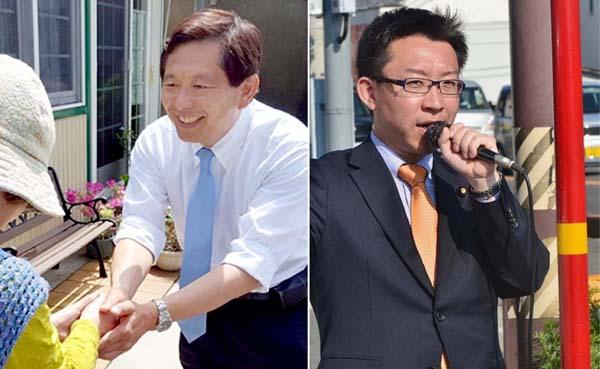 安保法制への反対運動に取り組む大西聡(左)と公明の推薦は見送られた中西祐介/(提供写真)