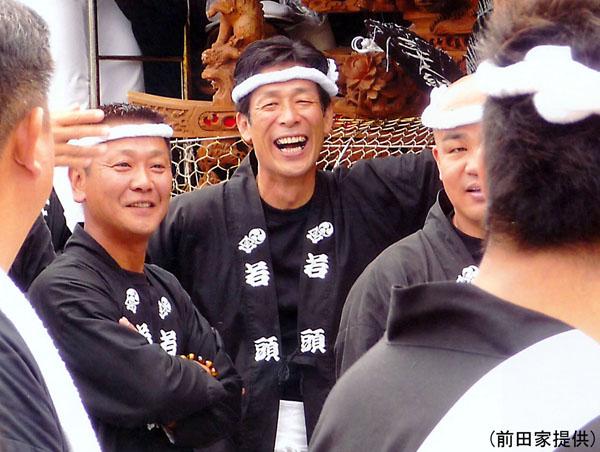 だんじり祭での父・茂治さん(前田家提供)