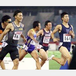 決勝進出を決めた1着山県亮太(左)と桐生祥秀