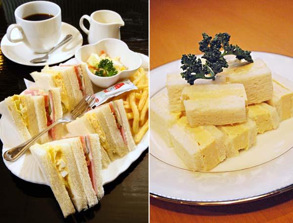 「カフェ・ブリッジ」の名物サンド(左=西銀座デパート内)と「天のや」のたまごサンド/(C)日刊ゲンダイ
