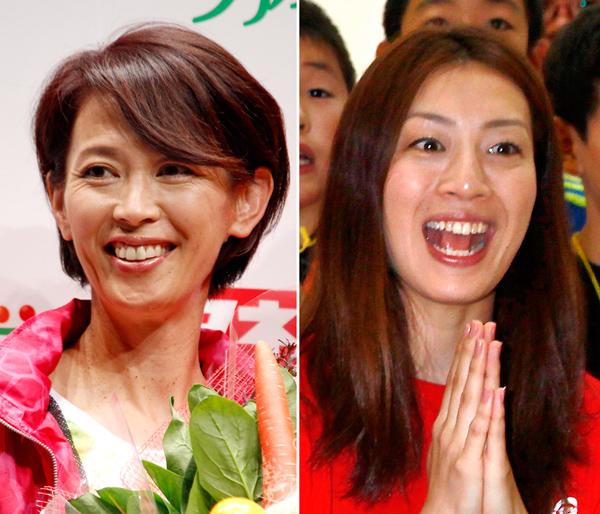 「サンデースポーツ」の有森裕子(左)と「報ステ」の寺川綾(C)日刊ゲンダイ
