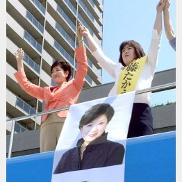 小池百合子元防衛相(左)と公明党の伊藤たかえ候補/(C)日刊ゲンダイ