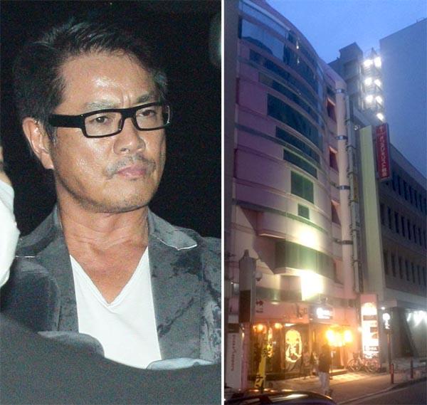 高知東生容疑者(左)と五十嵐容疑者が勤務していた店が入るビル(C)日刊ゲンダイ