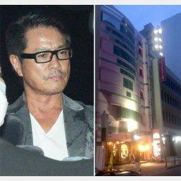 高知東生容疑者(左)と五十嵐容疑者が勤務していた店が入るビル