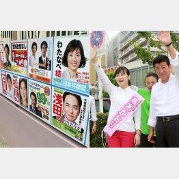 松川・石川・浅田氏は当選圏内(左)、知名度に欠ける高木かおり氏