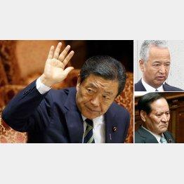 安倍政権の閣僚は見返りをもらうのが当たり前?(左から時計回りに森山農相、甘利前大臣、西川元大臣)/(C)日刊ゲンダイ