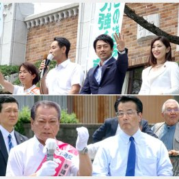 上は最強応援団(右から吉川議員、進次郎議員)と、こわもてコンビ/(C)日刊ゲンダイ
